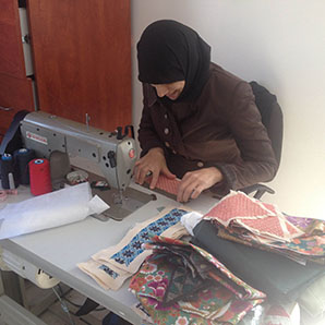 Samar working on Sewing